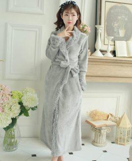 Women's Robe Bathrobe Winter Long Collar