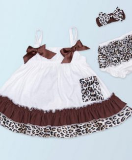 Baby Girl Bow Cotton Tops Dress Leopard Ruffle