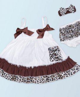 Baby Girl Bow Cotton Tops Dress Leopard Ruffle