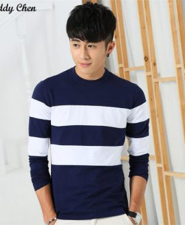 CASUAL STRIPED FULL LONG SLEEVE T SHIRT MEN COTTON O NECK T-SHIRT