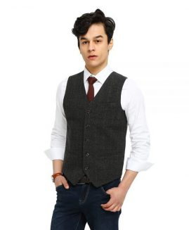 AIRTAILORS VINTAGE GRAY CHECKED TWEED VEST MEN SUIT